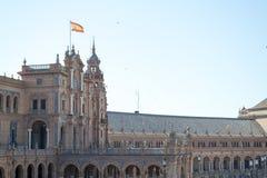 Drapeau espagnol à la place de l'Espagne Images libres de droits
