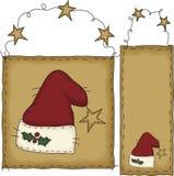 Drapeau et étiquette de chapeau de Santa d'art folklorique Photos stock