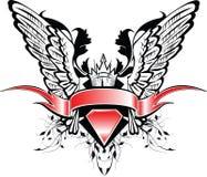 Drapeau et ailes illustration de vecteur