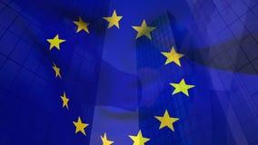 Drapeau et bâtiments européens illustration libre de droits