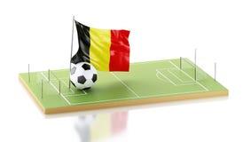 drapeau et ballon de football de 3d Belgique Photographie stock