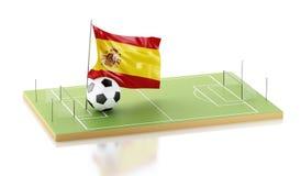 drapeau et ballon de football de 3d Espagne Photo libre de droits