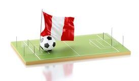 drapeau et ballon de football de 3d Pérou Photos stock