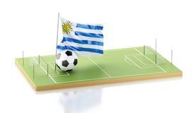 drapeau et ballon de football de 3d Uruguay Photo libre de droits