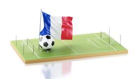 drapeau et ballon de football des Frances 3d Photo libre de droits