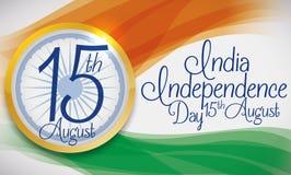Drapeau et bouton abstraits d'Inde pour le Jour de la Déclaration d'Indépendance, illustration de vecteur Illustration Libre de Droits