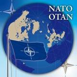 Drapeau et carte de l'OTAN Photographie stock