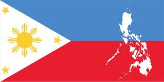 Drapeau et carte des Philippines illustration stock