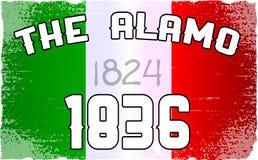 Drapeau et date d'Alamo Images libres de droits