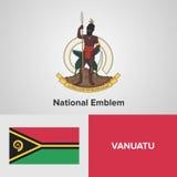 Drapeau et manteau des bras sur le Vanuatu Photos libres de droits