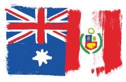 Drapeau et Peru Flag Vector Hand Painted d'Australie avec la brosse arrondie illustration libre de droits