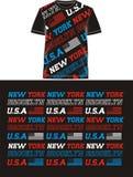 Drapeau Etats-Unis de typographie dans le T-shirt, vecteur Image libre de droits
