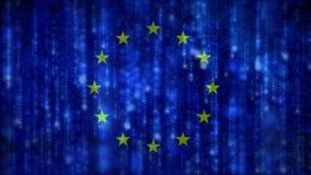 Drapeau européen avec le code binaire de matrice illustration stock