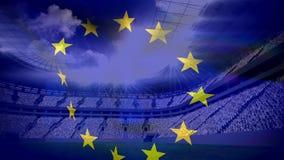 Drapeau européen flottant devant le stade de football illustration stock
