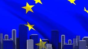 Drapeau européen ondulant avec le paysage urbain illustration stock