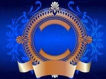 Drapeau fleuri d'or sur le bleu Photographie stock libre de droits