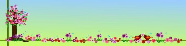 Drapeau floral de source Photographie stock libre de droits