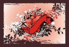 Drapeau floral rouge Image stock