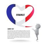 Drapeau français sous forme de coeur et prières des enfants Images stock