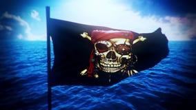 Drapeau gai de bateau de pirate de Roger à l'arrière-plan de mouvement de logo d'introduction de lumière de jour banque de vidéos