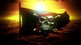 Drapeau gai de bateau de pirate de Roger au fond de mouvement de logo d'introduction de coucher du soleil banque de vidéos