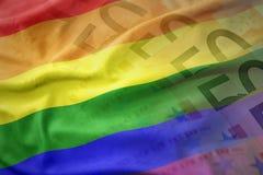 Drapeau gai de ondulation coloré d'arc-en-ciel sur un fond de billets de banque d'argent d'euro Photographie stock