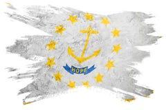 Drapeau grunge d'état d'Île de Rhode Course de brosse de drapeau d'Île de Rhode Photos libres de droits