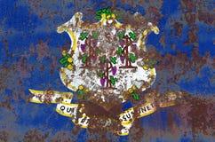 Drapeau grunge d'état du Connecticut, Etats-Unis d'Amérique Photos libres de droits