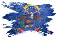Drapeau grunge d'état du Dakota du Nord Course de brosse de drapeau du Dakota du Nord Photographie stock libre de droits
