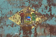 Drapeau grunge d'état du Delaware, Etats-Unis d'Amérique Photos stock