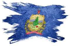 Drapeau grunge d'état du Vermont Course de brosse de drapeau du Vermont Photos stock
