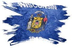 Drapeau grunge d'état du Wisconsin Course de brosse de drapeau du Wisconsin Photo libre de droits