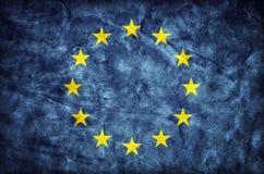 Drapeau grunge d'Union européenne, texture de papier UE Photos stock