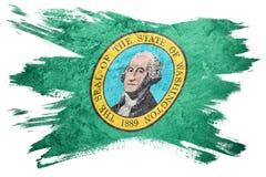 Drapeau grunge de l'état de Washington Course de brosse de drapeau de Washington Images stock