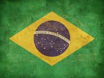 Drapeau grunge du Brésil Photos libres de droits