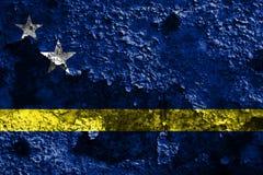 Drapeau grunge du Curaçao, drapeau néerlandais de territoire non autonome image libre de droits