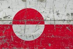 Drapeau grunge du Groenland sur la vieille surface en bois rayée Fond national de cru illustration libre de droits