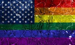 Drapeau grunge gai des Etats-Unis, drapeau de LGBT Etats-Unis illustration de vecteur