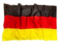 Drapeau hérissé de l'Allemagne de soie, d'isolement sur le blanc image libre de droits