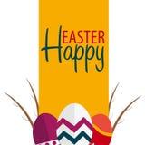 Drapeau heureux de Pâques Texte avec le saule Illustration de vecteur Images libres de droits
