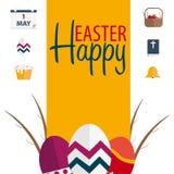 Drapeau heureux de Pâques Texte avec le saule Illustration de vecteur Photo libre de droits