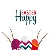 Drapeau heureux de Pâques Texte avec le saule Illustration de vecteur Photo stock