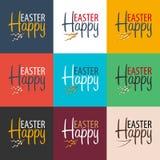 Drapeau heureux de Pâques Texte avec le saule Illustration de vecteur Images stock