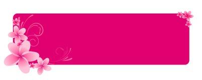 Drapeau horizontal rose avec des fleurs Images libres de droits
