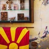 Drapeau, icônes et mur Photographie stock libre de droits