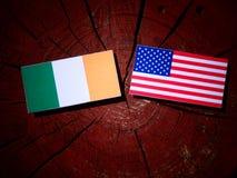 Drapeau irlandais avec le drapeau des Etats-Unis sur un tronçon d'arbre images stock
