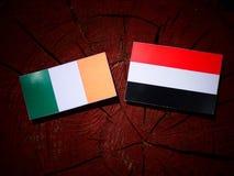 Drapeau irlandais avec le drapeau yéménite sur un tronçon d'arbre photographie stock libre de droits