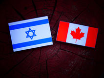 Drapeau israélien avec le drapeau canadien sur un tronçon d'arbre d'isolement image libre de droits