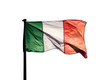 Drapeau italien à la lumière du soleil sur un fond blanc Images libres de droits