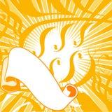 Drapeau jaune de défilements de couleurs. Image stock